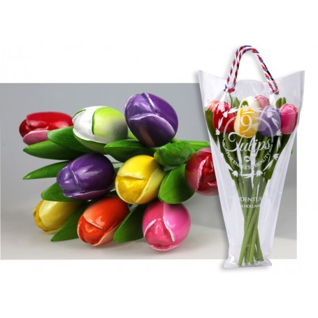 Bouquet of 9 wooden tulips 34 cm Multi Color 2