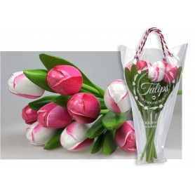 Bouquet of 9 wooden tulips 34 cm Pink & White