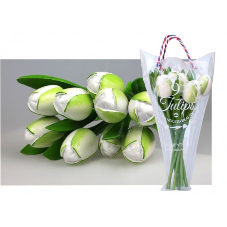 Bouquet of 9 wooden tulips 34 cm White