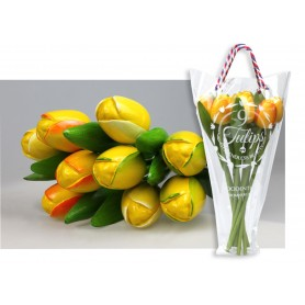 Bouquet of 9 wooden tulips 34 cm Yellow
