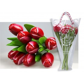 Bouquet of 9 wooden tulips 34 cm Red white