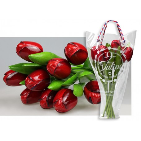 Bouquet of 9 wooden tulips 34 cm Red Eggplant